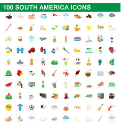 100 south america icons set cartoon style vector image