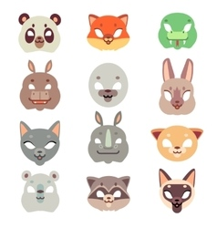 Carnival animals face masks in flat style vector image vector image