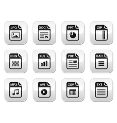File type black icons on modern grey buttons set vector image