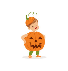 little boy dressed as a pumpkin cute kid in vector image