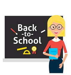 Teacher with Glasses and Book and Back to School vector image vector image