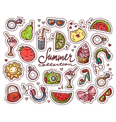summer doodle set vector image vector image