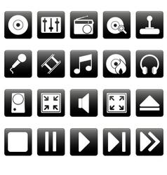 White media icons on black squares vector image