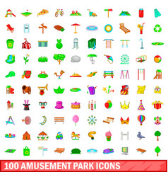 100 amusement park icons set cartoon style vector