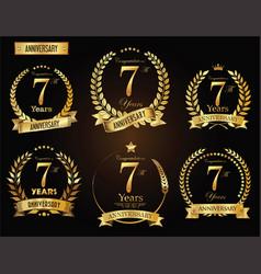 anniversary golden laurel wreath vector image vector image