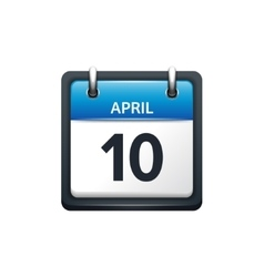 April 10 Calendar icon flat vector image vector image