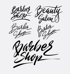 barber shop and beauty salon hand written typograp vector image