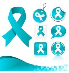 Blue Ribbons Awareness Kit vector image vector image