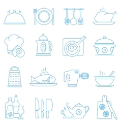 Cooking kitchen tools and food line icons vector image