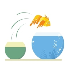 Goldfish jumping out vector