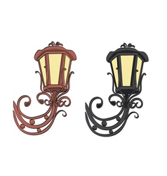 old black and brown vintage lamps vector image vector image