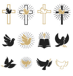 set of religious signs cross with dove holy vector image
