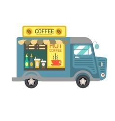 Cartoon style of a coffee van side vector image vector image
