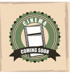 cinema coming soon badge banner retro vintage vector image