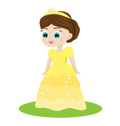 cute kawaii fairy tale princess in yellow dress vector image vector image