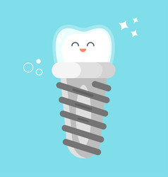 flat style of happy dental implant vector image vector image