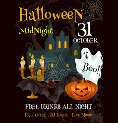 halloween party night trick or treat poster vector image
