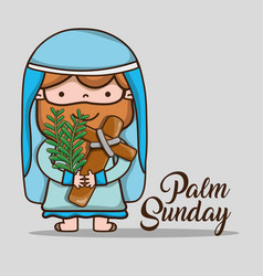 jesus with palm branches on sunday palm vector image