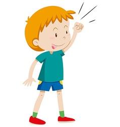Little boy in green shirt vector image vector image