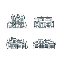 residential houses thin line icons vector image