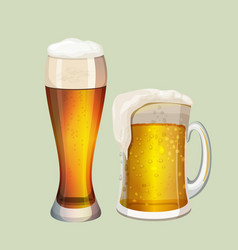 two big glasses with frothy beer graphic icon on vector image