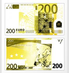 two hundred euro grunge trace vector image vector image