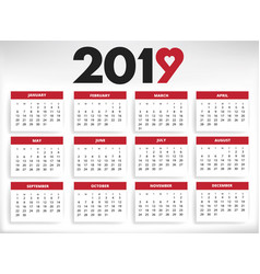 2019 calendar all year months days with heart vector