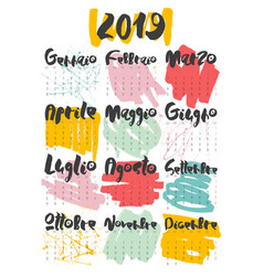 2019 calendar hand lettering with doodle on white vector