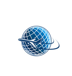 airplane and planet earth sign vector image