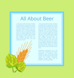 All about beer poster with cabbage and wheat ear vector