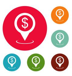 bank map pointer icons circle set vector image
