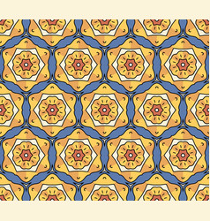 beautiful pattern with yellow flowers on blue vector image