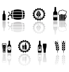 Beer isolated objects set with mirror reflection vector
