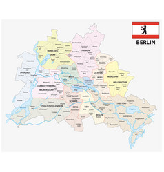 berlin administrative and political map with flag vector image