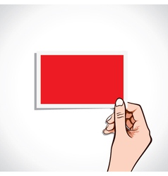 blank red card in hand vector image