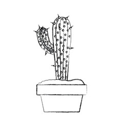 Blurred silhouette cactus with big branch in pot vector