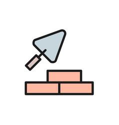 bricks with building trowel brickwork flat color vector image