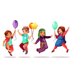 children nationalities with balloons vector image