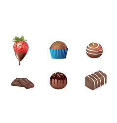 chocolate desert set vector image