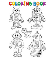Coloring book with various robots vector