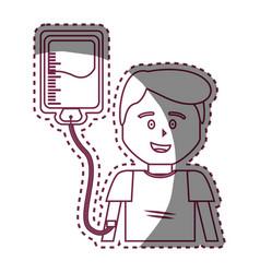 Contour man donating blood icon vector