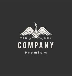 crane bird hipster vintage logo icon vector image