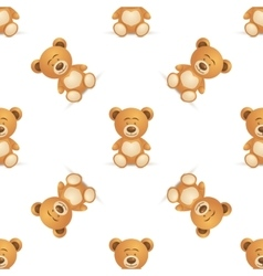 Cute bear seamless pattern vector image