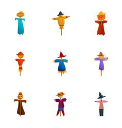 Cute scarecrow icon set cartoon style vector