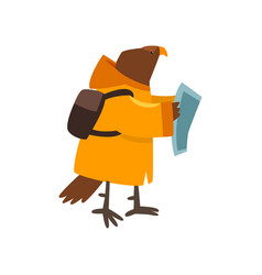 eagle travelling with backpack and map cute vector image