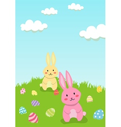 Easter Rabbit in Garden Greeting Card vector