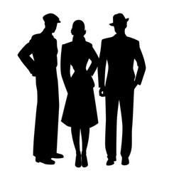 elegant silhouettes three two men and woman vector image