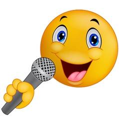 Emoticon smiley singing vector