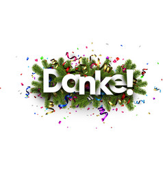 Festive thank you background german vector
