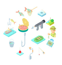 Fishing icons set in cartoon style vector